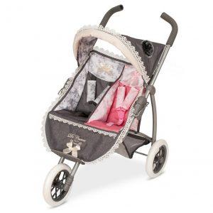 Skladací kočík trojkolesový pre dvojčatá bábiky Reborn 2018