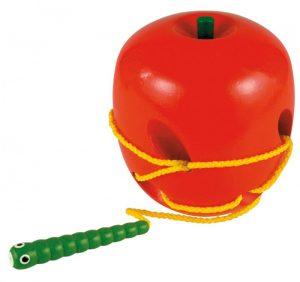 Drevené prevliekadlo - jablko s červíkom