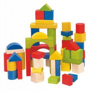 Stavebnica kocky farebné v kartóne