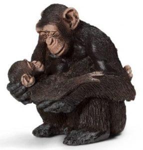 Zvieratko - samica šimpanza s mláďaťom