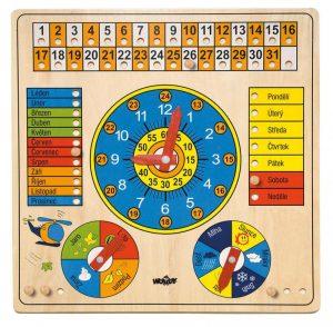 Viacúčelový kalendár s hodinami a barometrom