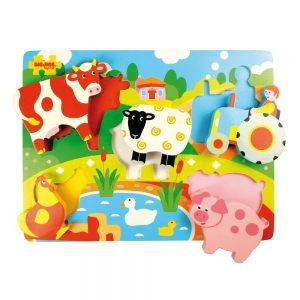 BJ326 Bigjigs Drevene vkladacie puzzle Farma