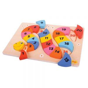 Drevená hračka - puzzle had s číslami Bigjigs Toys