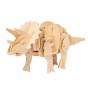 Drevená stavebnica - Triceratops - robotická hračka