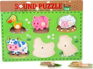 """Drevené puzzle """"Zvieratká so zvukmi"""""""