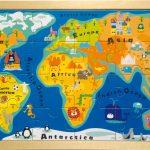 Puzzle drevena mapa sveta Small Foot Legler LE4240