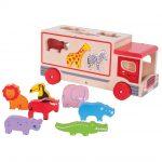 Drevené auto so zvieratkami Safari Bigjigs Toys