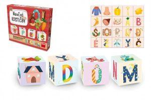 Náučné kocky drevené v krabičke abeceda Dino